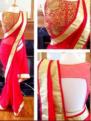 Arisha Georgette Embroidered Saree - Red - 7037