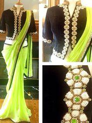 Arisha Georgette Embroidered Saree - Green
