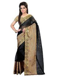 Bhuwal Fashion Plain Cotton Silk Black Designer Saree -bhl09