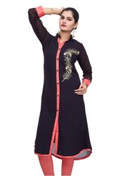 Bhuwal Fashion Solid Georgette Navy Blue Kurti -Bfbm10003