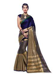 Bhuwal Fashion Plain Tussar Silk Multicolor Saree -Bfbnd7001