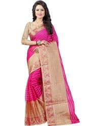 Bhuwal Fashion Plain Cotton Silk Pink Saree -Bfbnd8002