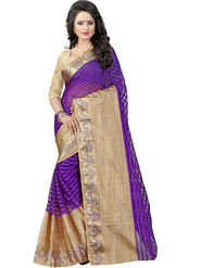 Bhuwal Fashion Plain Cotton Silk Purple Saree -Bfbnd8007
