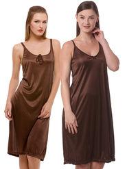 Set Of 2 Being Fab Satin Lycra Solid Nightwear -fbl06