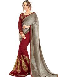 Zoom Fabrics Georgette Embroidered Designer Maroon & Grey Saree - BHNEERJAFIVE1015