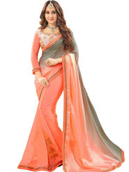 Zoom Fabrics Georgette Embroidered Designer Peach Saree - BHNEERJAFIVE1016
