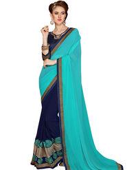 Zoom Fabrics Georgette Embroidered Designer Blue & Turquoise Saree - BHSHREYA1107