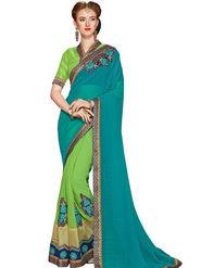 Zoom Fabrics Georgette Embroidered Designer Green Saree - BHSHREYA1110