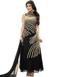 Styles Closet Embroidered Georgette Semi-Stitched Black Suit -Bnd-10011