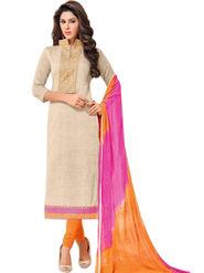 Styles Closet Printed Khadi Cotton Cream Unstitched Dress Material -Bnd-5265