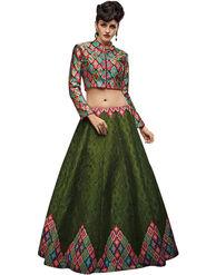 Styles Closet Bangalori Silk Green Semi-Stitched Lehenga Choli -Bnd-7030