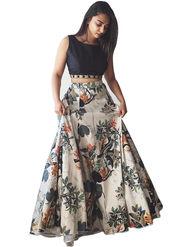 Styles Closet Crepe Black Semi-Stitched Lehenga Choli -Bnd-7037
