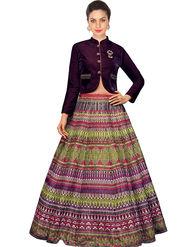 Styles Closet Bangalori Silk Multicolor Semi-Stitched Lehenga Choli -Bnd-7039