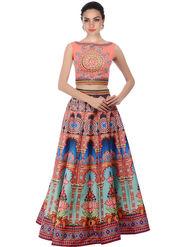Styles Closet Bangalori Silk Multicolor Semi-Stitched Lehenga Choli -Bnd-7041