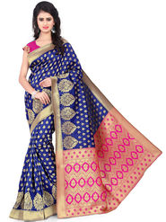 Styles Closet Printed Banarasi Silk Blue Saree -Bnd-80062