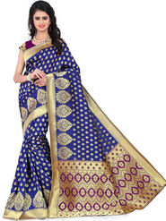 Styles Closet Printed Banarasi Silk Blue Saree -Bnd-80063