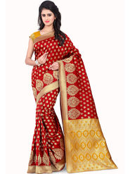 Styles Closet Printed Banarasi Silk Red Saree -Bnd-80066