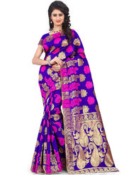 Styles Closet Printed Banarasi Silk Purple Saree -Bnd-80078