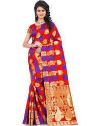 Styles Closet Printed Banarasi Silk Red Saree -Bnd-80079