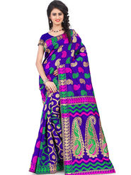 Styles Closet Printed Banarasi Silk Purple Saree -Bnd-80081