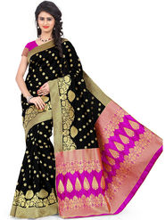 Styles Closet Printed Banarasi Silk Black Saree -Bnd-80086