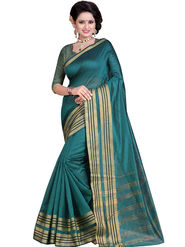 Styles Closet Striped Poly Cotton Green Saree -Bnd-80234