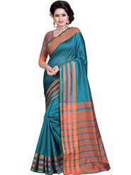 Styles Closet Striped Poly Cotton Blue Saree -Bnd-80240