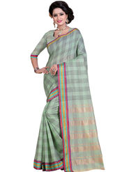 Styles Closet Striped Poly Cotton Green Saree -Bnd-80242