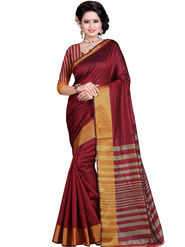 Styles Closet Striped Poly Cotton Maroon Saree -Bnd-80256