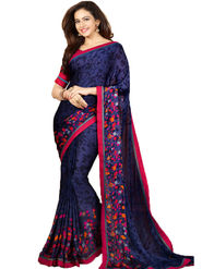 Styles Closet Printed Chiffon Blue Sarees -Bnd-8743