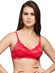 Clovia Cotton Lycra &  Nylon Lace Solid Bra -BR0226P39