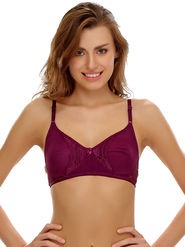 Clovia Cotton Blend  Lace Solid Bra -BR0284P09