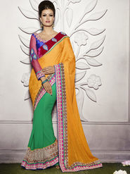 Bahubali Jacquard Embroidered Saree - Yellow - HT.53115