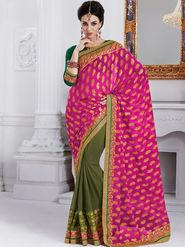 Bahubali Georgette Embroidered Saree - Magenta - GA.50204