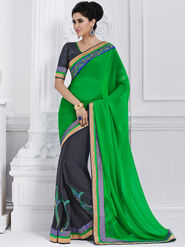 Bahubali Georgette Embroidered Saree - Green - GA.50211