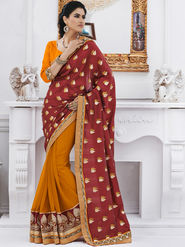Bahubali Jacquard Embroidered Saree - Red - GA.50222