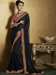 Bahubali Crepe Jacquard Embroidered Saree - Black - RA.10215