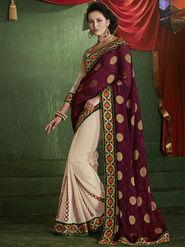 Bahubali Jacquard Embroidered Saree - Wine - RA.10223