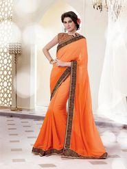 Bahubali Satin Jacquard Embroidered Saree - Orange