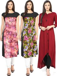 Combo of 3 Bhuwal Fashion Printed American Crepe Multicolor Kurti -Bfcom001