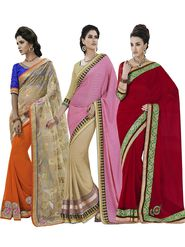 Magnificent Pack of 3 Party wear Sarees - By Bahubali