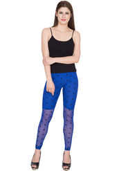 Yellow Tree Printed Net Blue Legging -os35