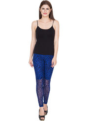 Yellow Tree Printed Net Blue Legging -os37