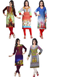 Combo of 5 Adah Fashions Digital Print Crepe Multicolor Kurti- ad01