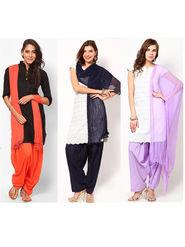 Combo of 3 Arisha Cotton Solid Salwar And Dupatta Set-CMBB21