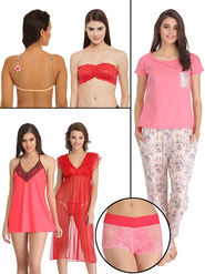 Pack of 8 Clovia Nightwear Set With Free Panty-Combos100
