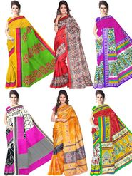 Pack of 6 Printed Bhagalpuri Artsilk Multicolor Sarees-ad35