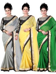 Combo of 3 Style Amaze Embroidered Georgette Designer Sarees -sta03
