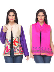 Pack of 2 Lavennder Embroidered Silk Jackets -lca03