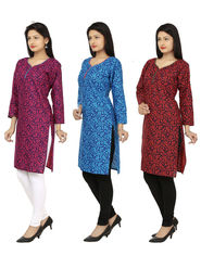 Combo of 3 Arisha Cotton Printed Kurtis -Combo17